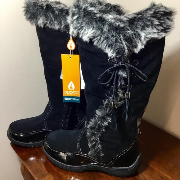 New Black Sidewinder Tall Boots W Faux